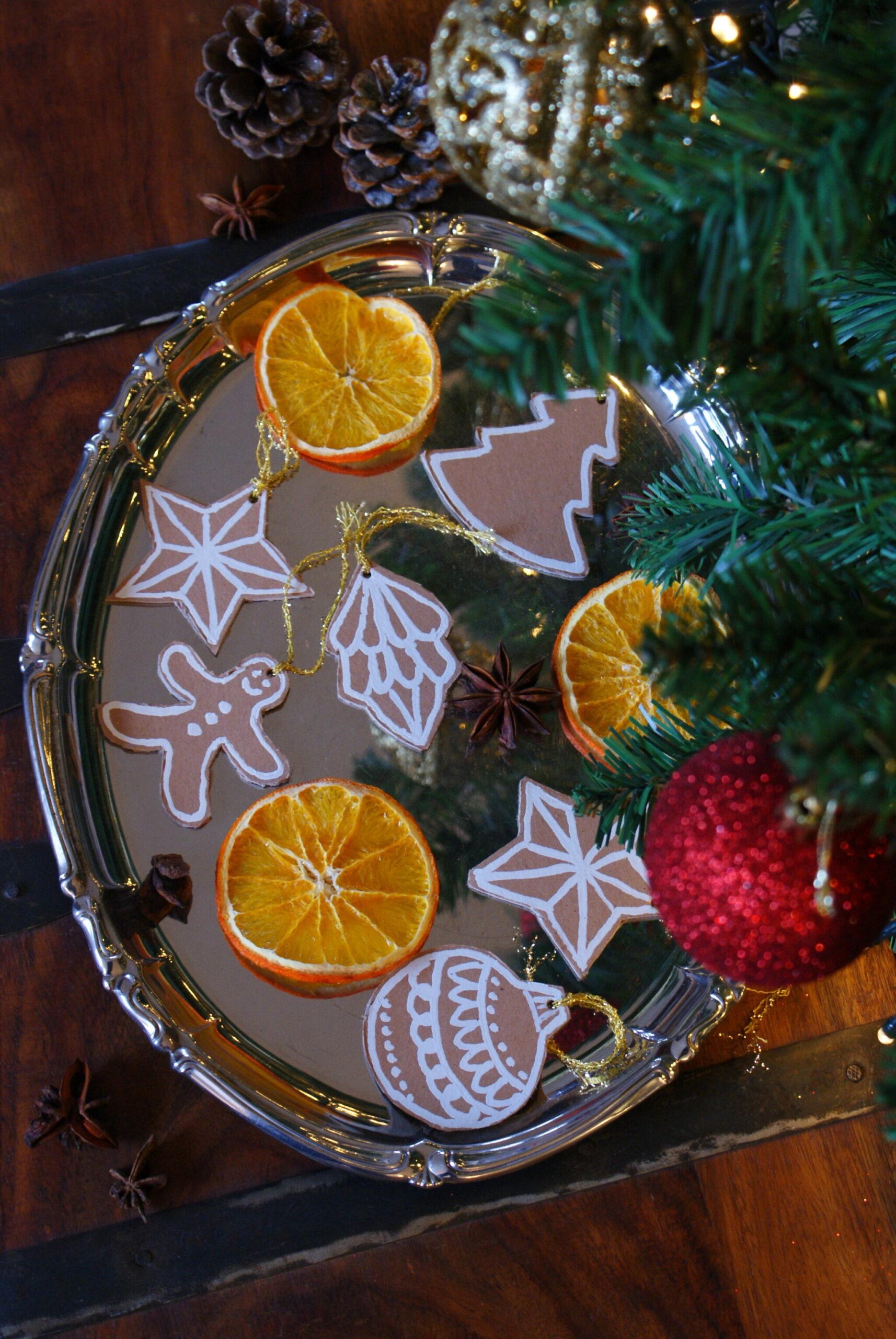 diy cardboard gingerbread cookies christmas tree ornaments idea easy last minute francinesplaceblog