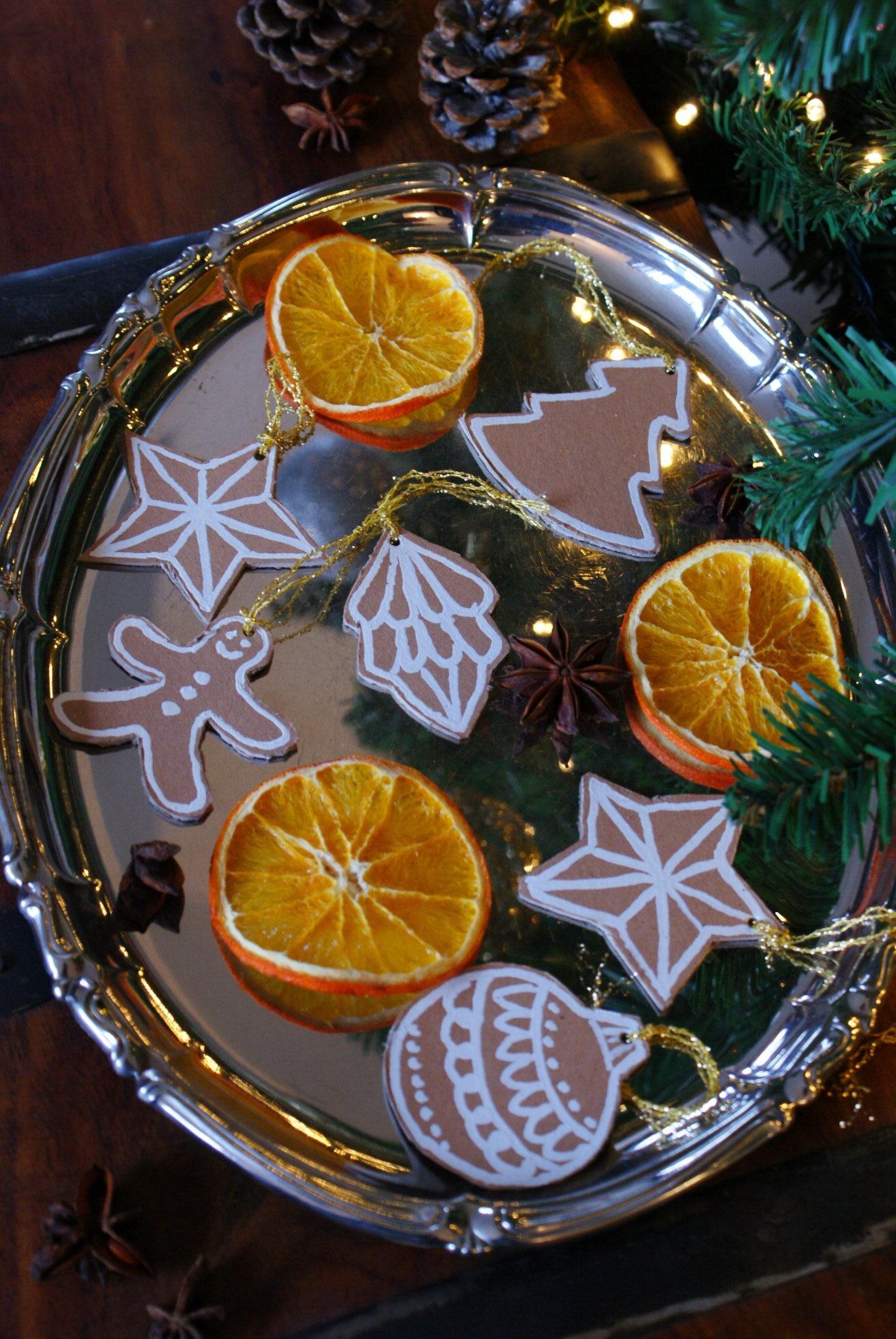 diy cardboard gingerbread cookies christmas tree ornaments idea easy last minute francinesplaceblog tutorial craft