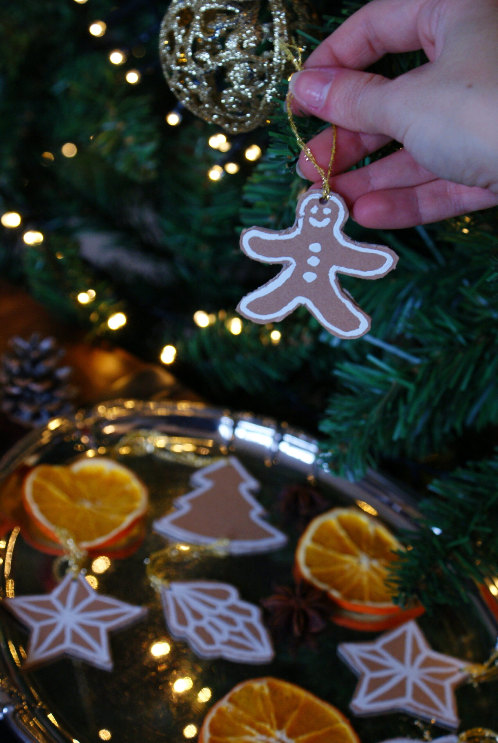 diy cardboard gingerbread cookies christmas tree ornaments idea easy last minute francinesplaceblog craft handmade