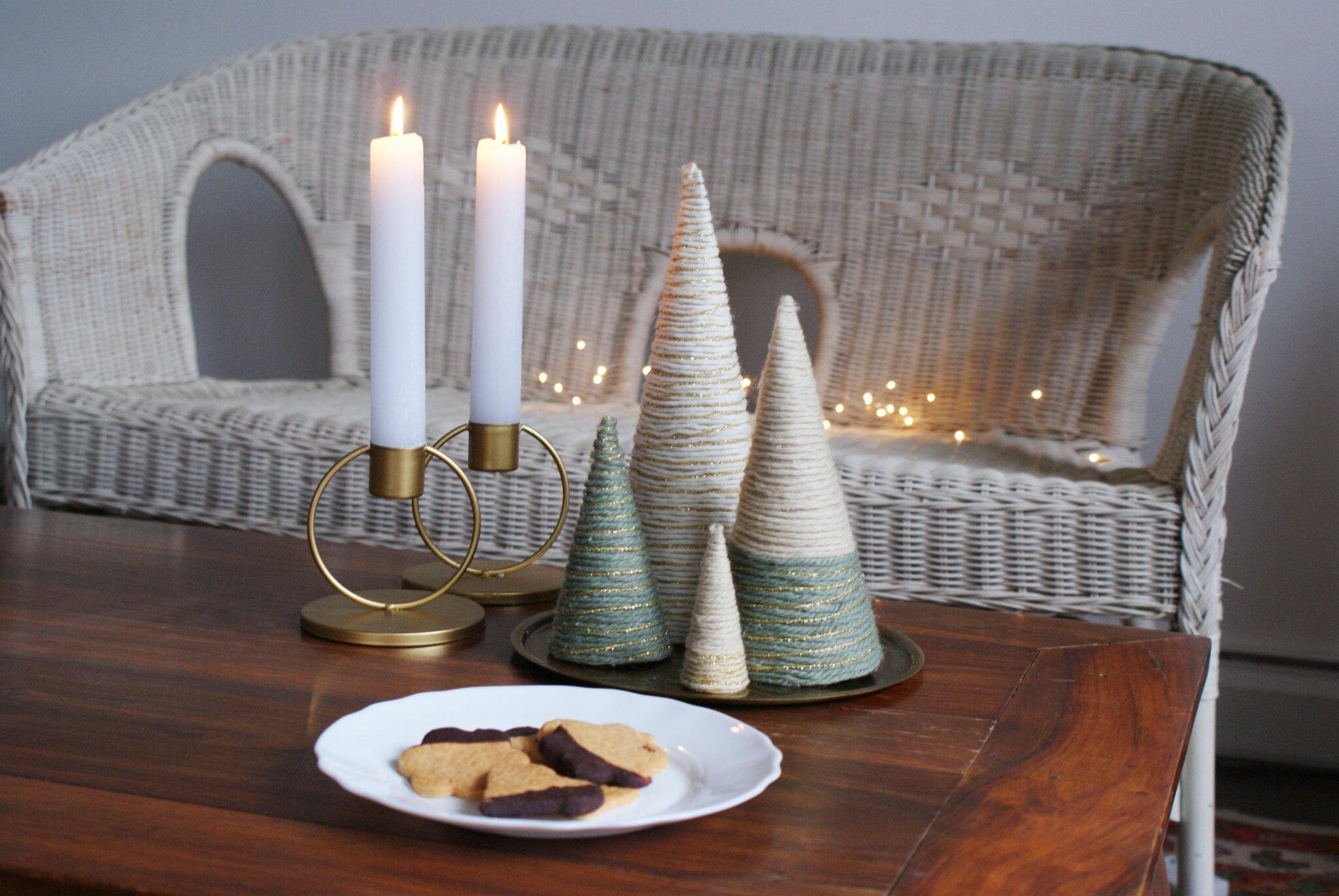 alberelli albero natale fai da te lana cotone filo spago minimalista scandinavia decorazione casa facile veloce idea handmade