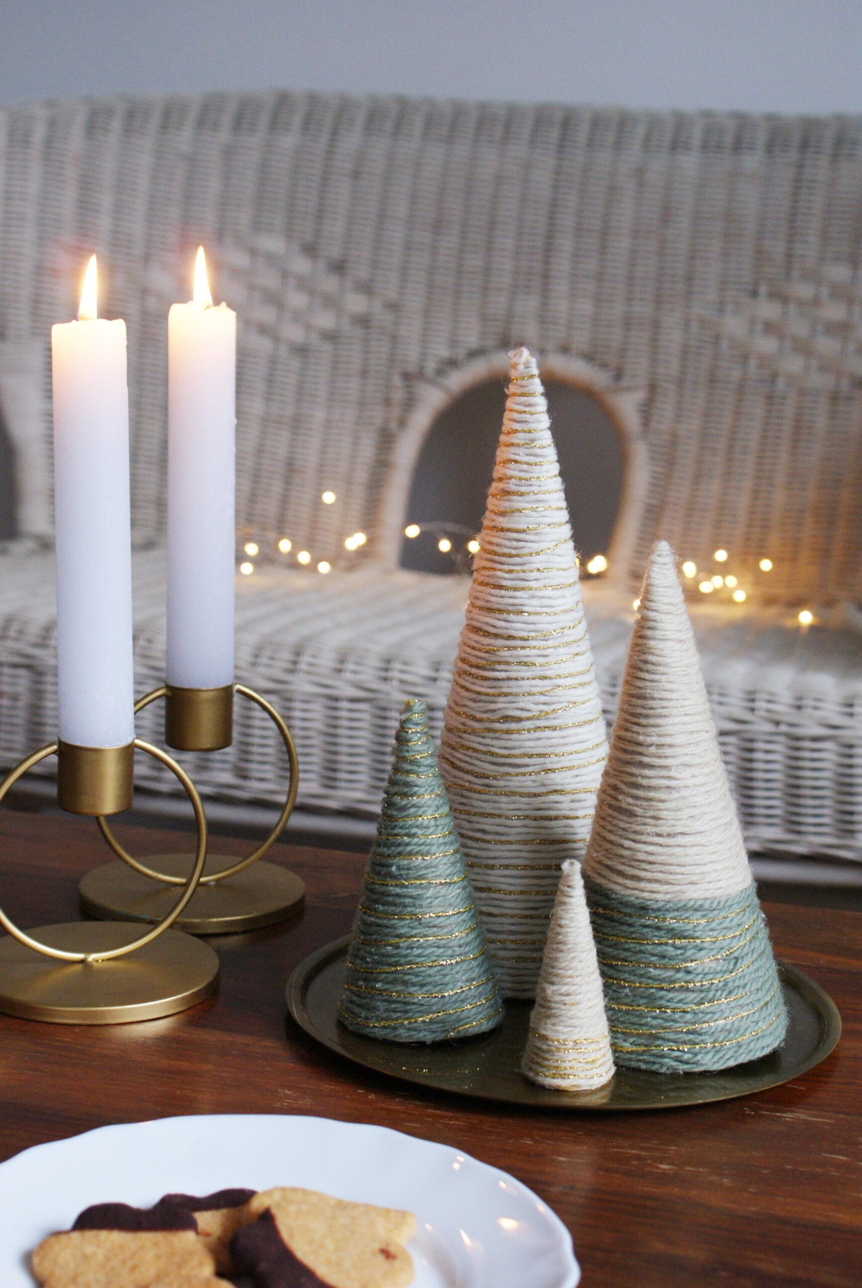 alberelli albero alberi natale fai da te lana cotona filo spago corda idea idee facile veloca handmade decorazione casa