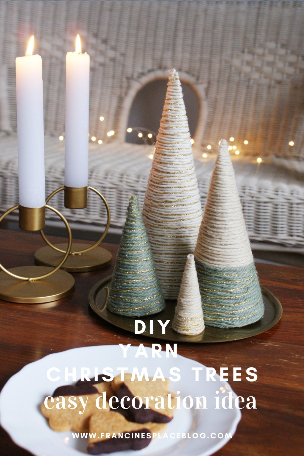diy yarn christmas tree wool wrapped easy quick simple last minute decoration idea francinesplaceblog pinterest