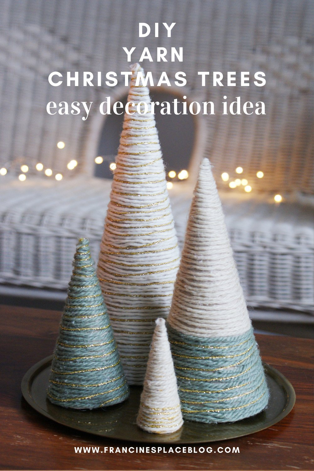diy yarn christmas tree wool wrapped easy quick simple last minute decoration idea francinesplaceblog pinterest 2