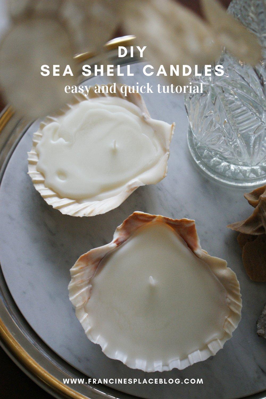 diy sea shell candles ultimate easy quick tutorial how make home decor aesthetic candele conchiglia conchiglie faidate casa come fare francinesplaceblog