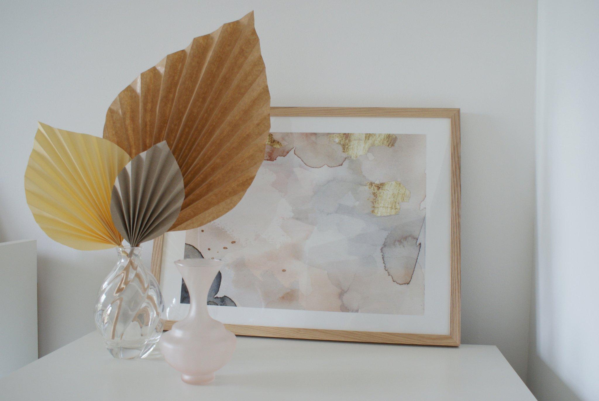 diy palm paper leaf leaves decor idea handmade craft easy simple tutorial home decoration neutral minimalist francinesplaceblog 3